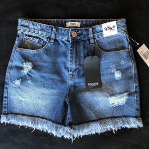 NWT Kensie Distressed High Rise Denim Short